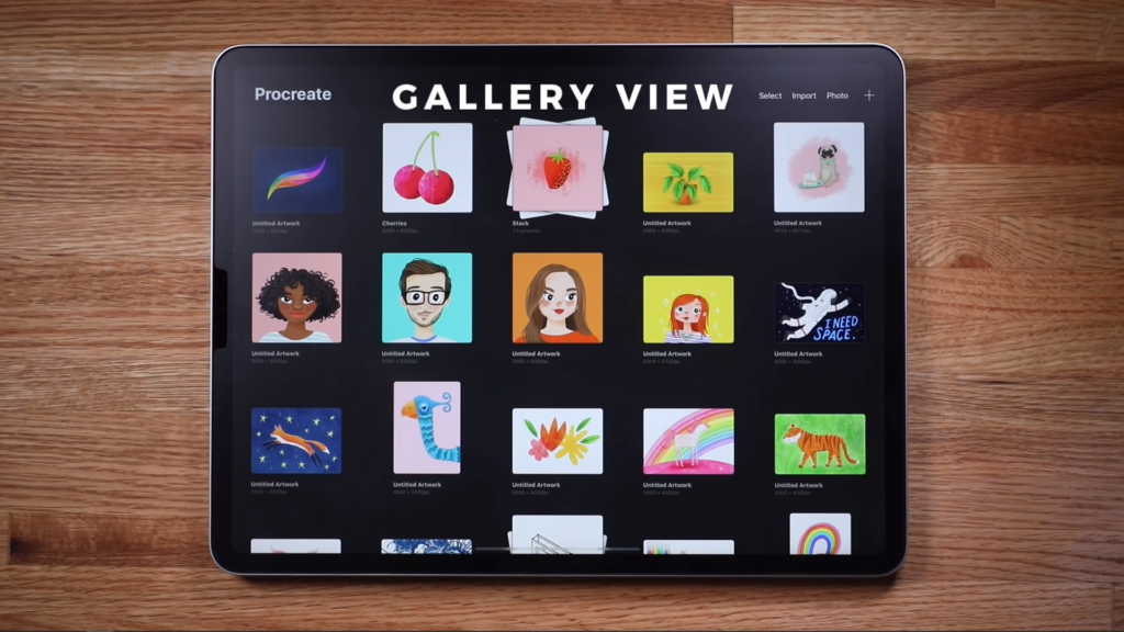 procreate gallery view
