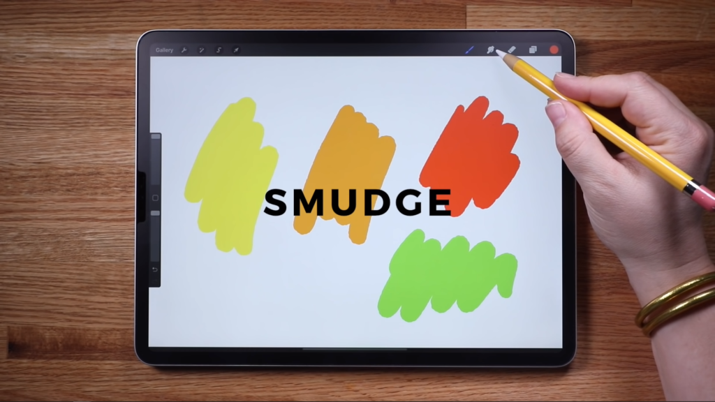 procreate smudge tool