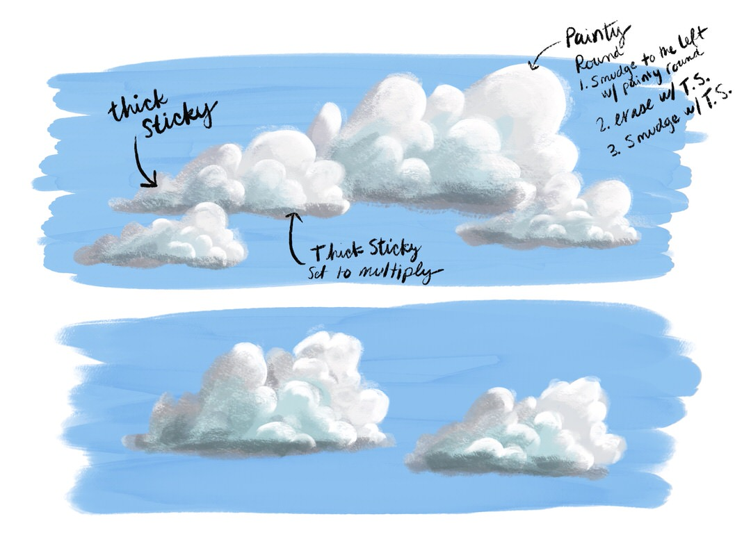My two final cloud rendering attempts. I also included notes about how I used the brushes.