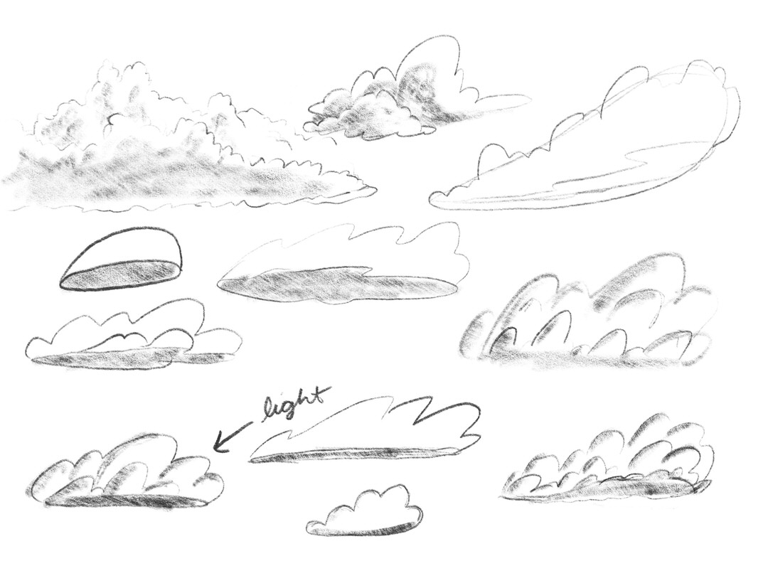 Cloud sketches! It helped to think of the cloud as a 3D shape. It looks like a whale body to me!