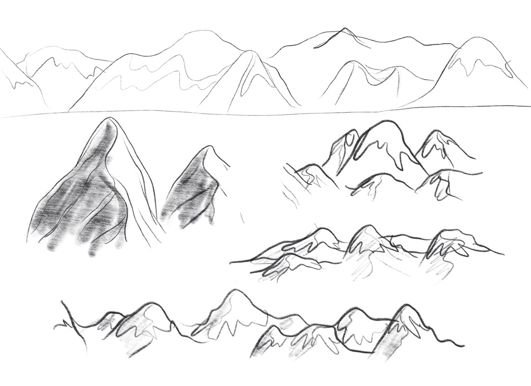 Doing sketches of mountains