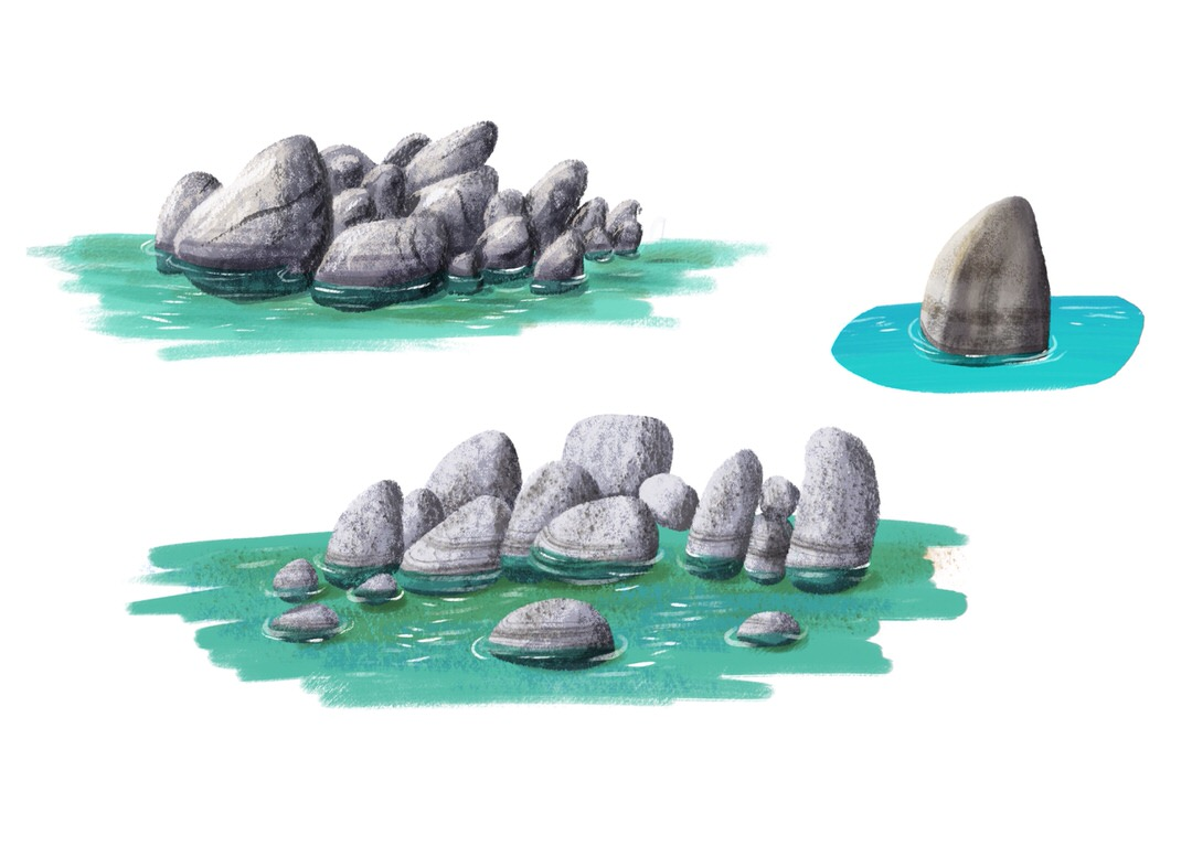 Attempting to depict the texture and shading of boulders