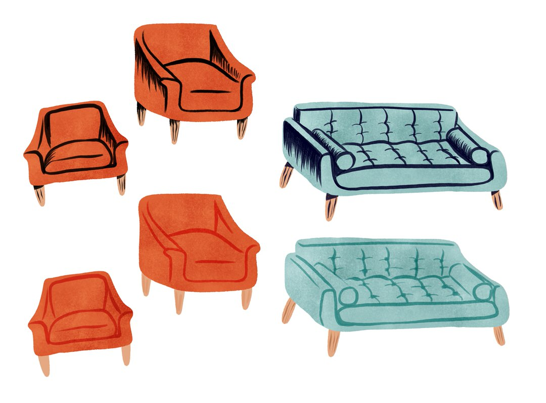 These are my chair and sofa studies. Testing out a new visual style for this scene.