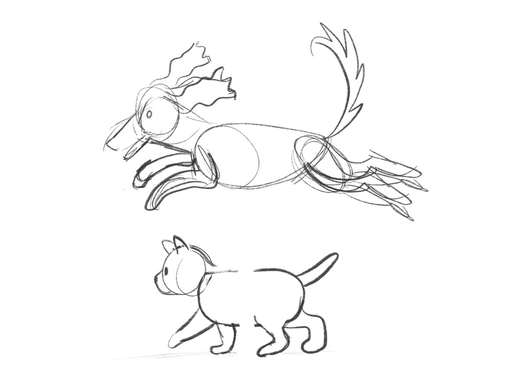 Dog and kitten rough sketches