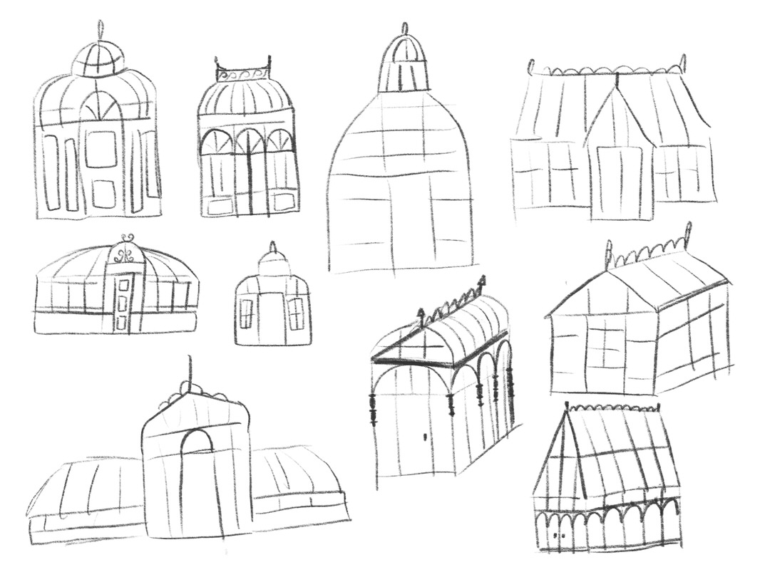 Sketching a variety of greenhouse shapes and silhouettes
