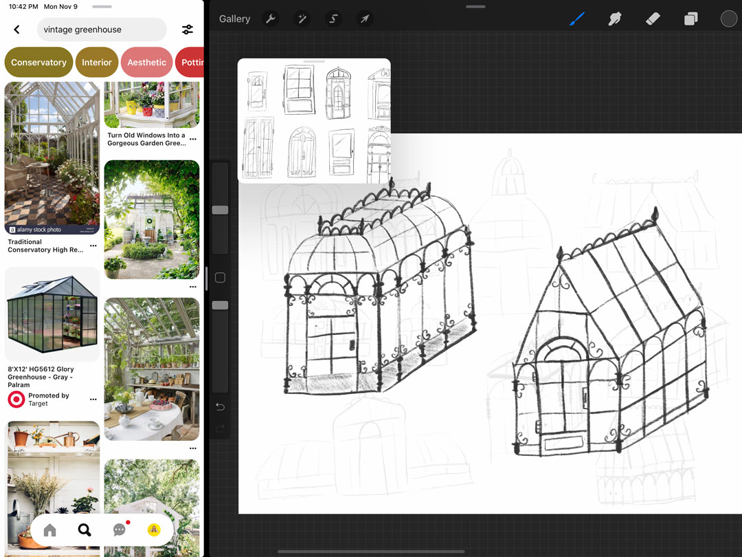 As I worked, I kept some references up on my using split-screen view, then loaded my doors and window studies into the Procreate Reference Companion.