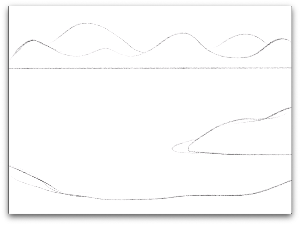 Start by sketching in the land formations using basic shapes...