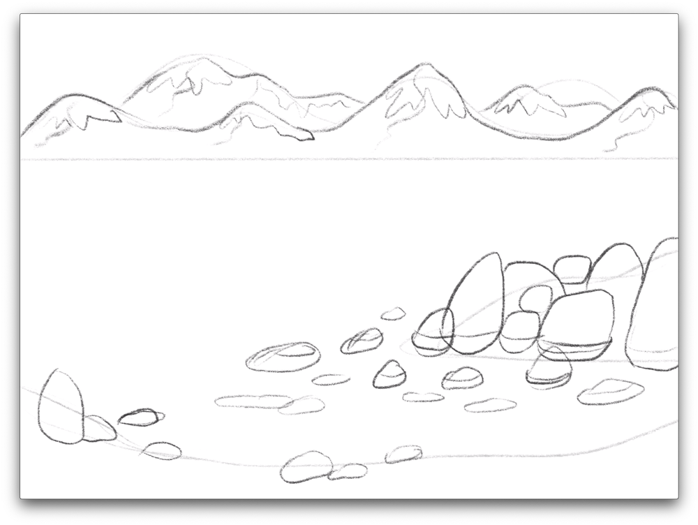 ...then draw the land formations in more detail...
