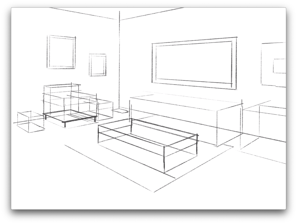 Next, create a perspective sketch using Procreate's perspective guide feature.