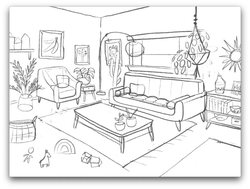 Using the perspective sketch as a guide, hand draw a more detailed sketch.