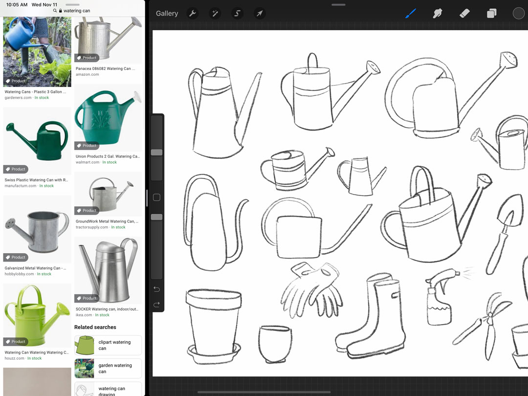 Looking up photos of watering cans while I sketch