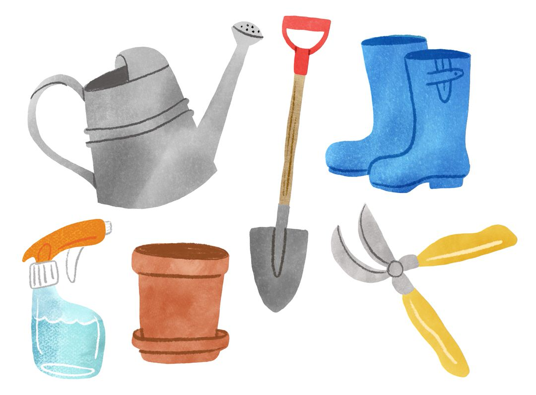 My fully-colored tools and objects. I'm getting a clear picture of the visual style I want to use in my final piece now.