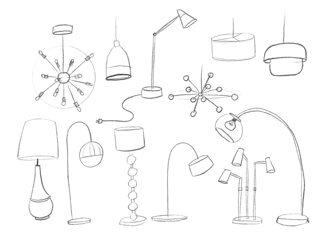 Lots of sketches of different lighting fixtures!