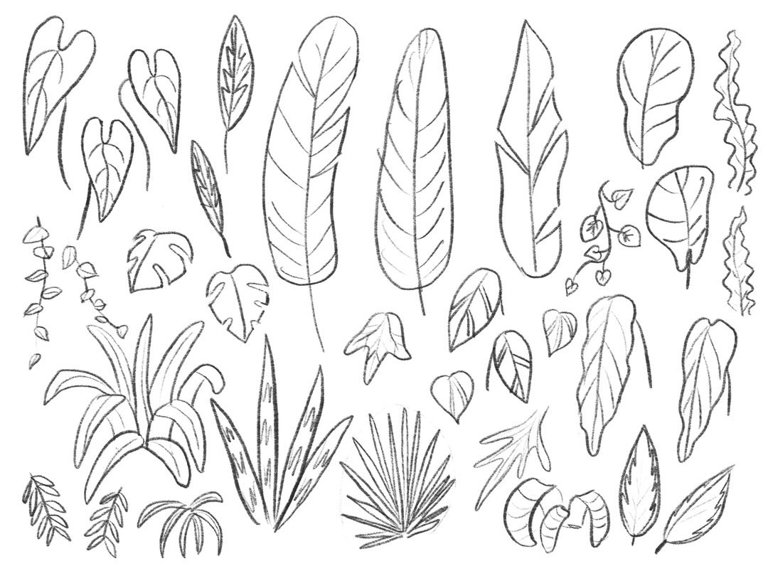 Sketch page of leaf shapes to fill inside the greenhouse
