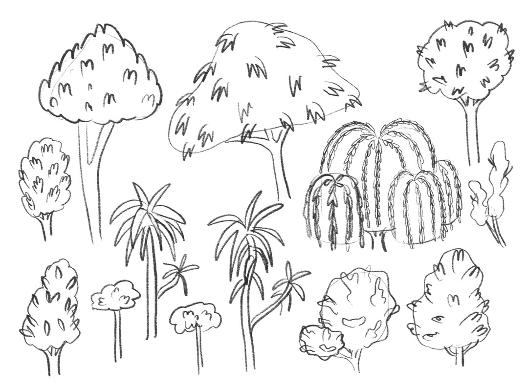 Sketch page of trees for inside the greenhouse and outside