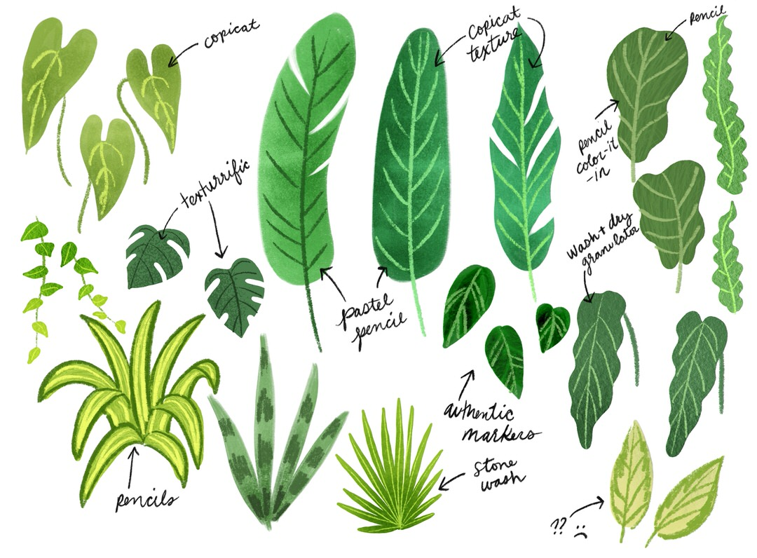 Coloring in the leaf shapes and experimenting with texture some more