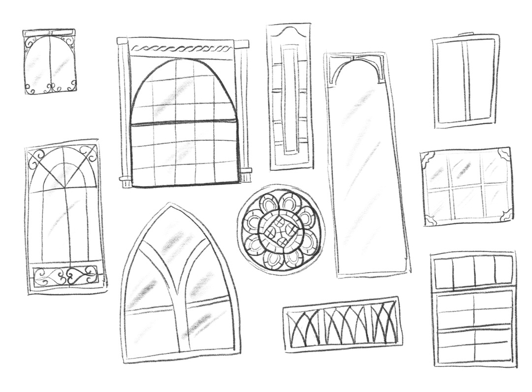Greenhouses are all windows! I had fun researching interesting window styles.